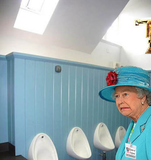 Queen visits urinals